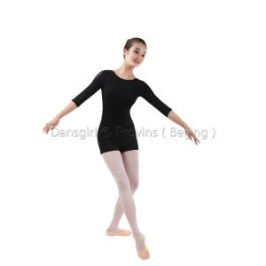 3/4 Mesh Sleeve Leotard with Shorts