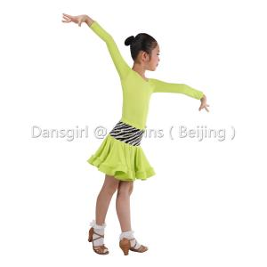 2018 New Child Long Sleeve Latin Leotard With Pinch Back