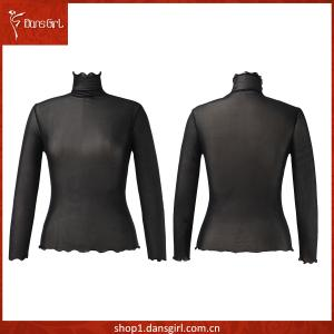 High-neck Long Sleeve Elastic Mesh Top