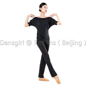 Boat Neck Dance Top With Pinch Sides