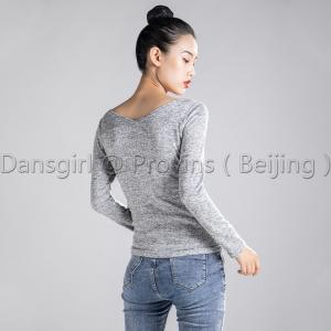 Round Neck and V Back Long Sleeve Top