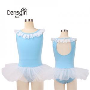 Sleeveless Leotard with White Tutu for Girls