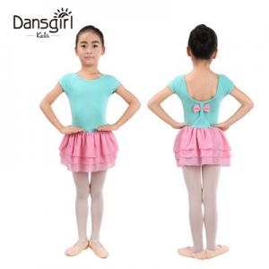 Cap Sleeve Leotard with 3 Layers Chiffon Skirt& Bow Back
