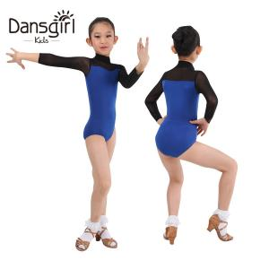 New Two-tone Ballroom Dance Leotard With Mesh