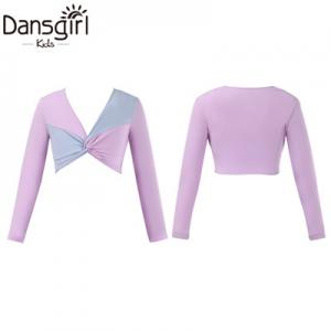 Two-tone Long Sleeve Twist Front Top