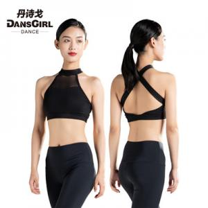 Crisscross Back Bra Top With Mesh Front