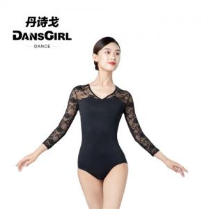3/4 Mesh Sleeve V Neck Leotard With Hole Back