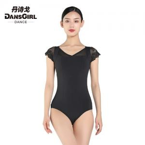 V Neck Leotard with Hole Back