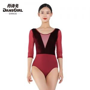 3/4 Mesh Sleeve Leotard With Velvet